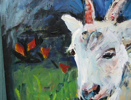 goat painting detail